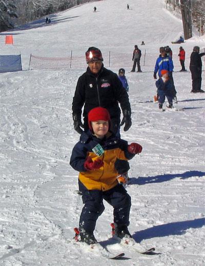 Caleb on skis