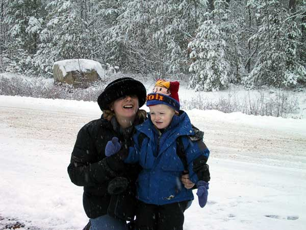 Toika and Caleb in the snow